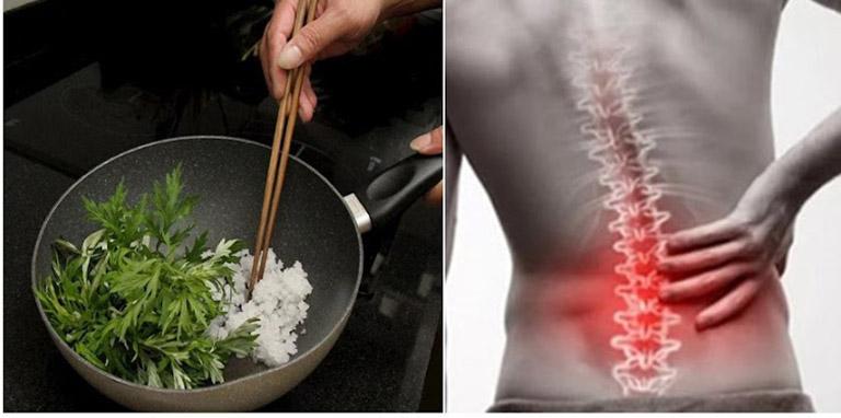 Ngải cứu rang nóng kết hợp một số nguyên liệu khác là bài thuốc giúp giảm đau hiệu quả