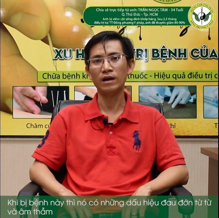 Bệnh nhân Trần Ngọc Tâm (34 tuổi, TP HCM) có phản hồi về Đông phương Y pháp chữa bệnh không dùng thuốc