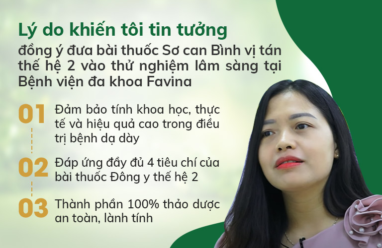 Lý do khiến Bệnh viện Đa khoa Favina quyết định thử nghiệm bài thuốc Sơ can Bình vị tán thế hệ 2